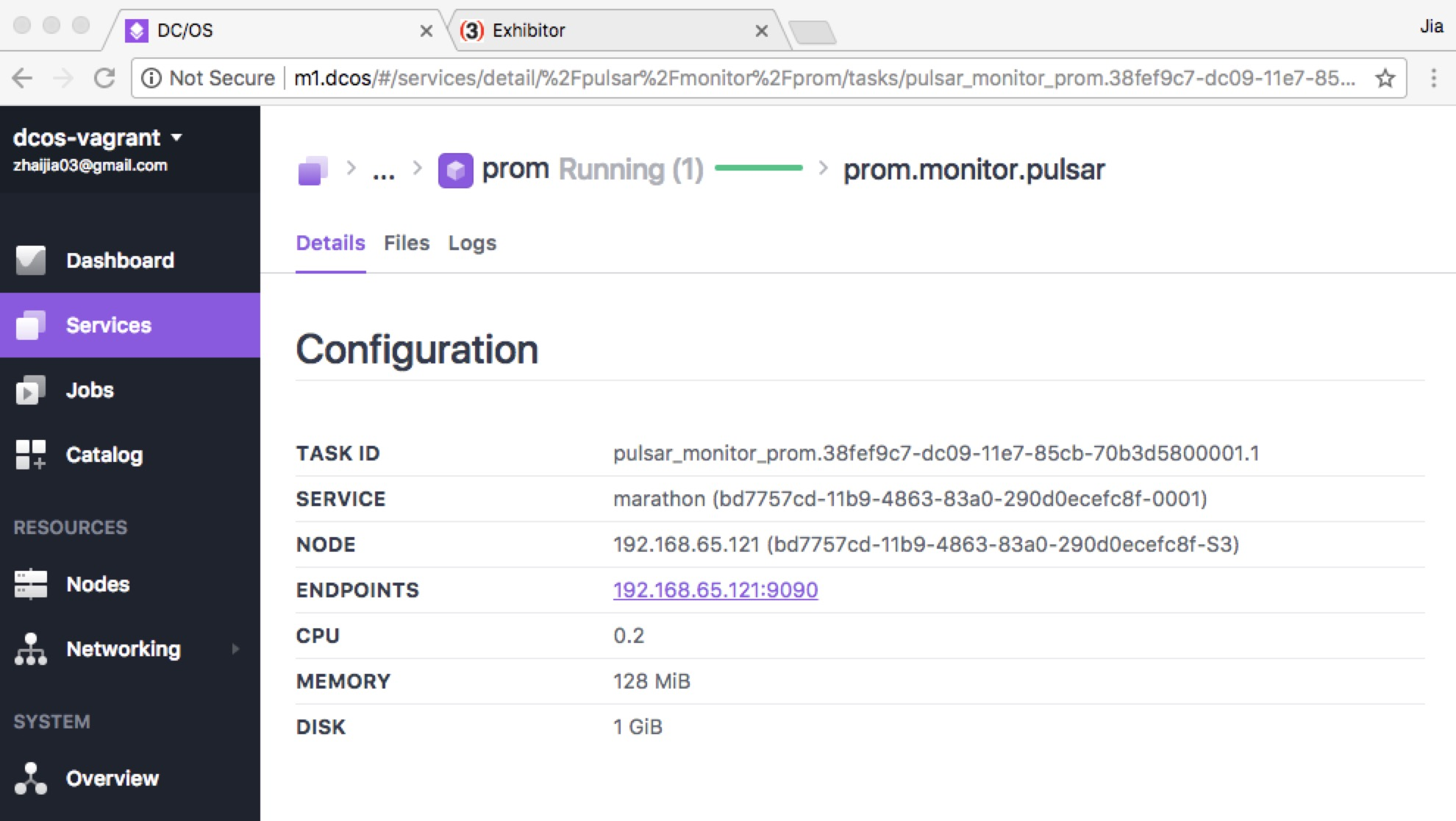 DC/OS prom endpoint